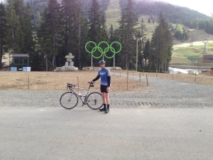 In front of Olympic rings Cypress Mtn